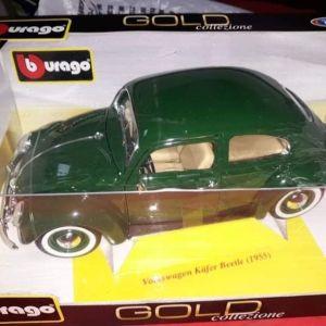 VW KAFER-BEETLE 1955 / BBURAGO / 1:18 - *RARE* GREEN COLOR / DIECAST