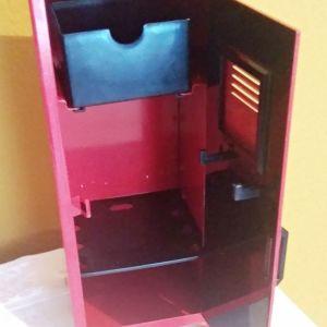 μεταλλικός κόκκινος κουμπαράς σχήμα ντουλάπα