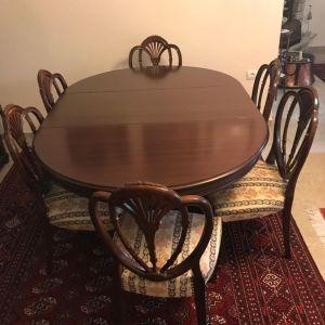 Χειροποίητη τραπεζαρία από μασίφ ξύλο καρυδιάς με 6 καρέκλες