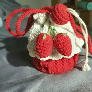 handmade crochet small puff strawberry bag