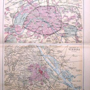 Bartholomew 1860 Χάρτες Παρισίου και Βιέννης