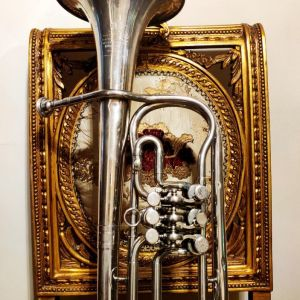 Συλλεκτικό άλτο κόρνο δεκ. 1930 με κύλινδρους, ιταλικό Ditta Prof. Romeo Orsi - Milano Italia, μουσικό χάλκινο πνευστό όργανο, διακόσμηση ρετρό αντίκα σπάνιο δυσεύρετο φιλαρμονική τρομπέτα τρομπόνι