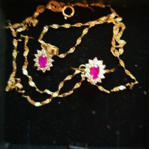 Χρυσό σετ 14Κ δαχτυλίδι και μεταγιόν με γρανάτη