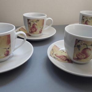 Σετ φλυτζανακια του καφέ 6τμχ με πιατάκια. Υπέροχη απεικόνιση με πορτοκάλια. Καινούργια.