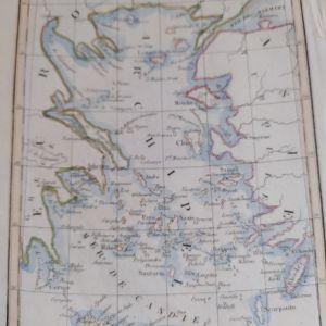 1830 Χάρτης Αρχιπέλαγος Αιγαίο του A. M. PERROT  χαράκτης P. Tardieul