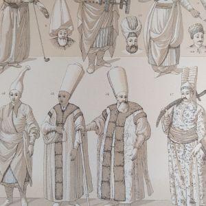 1888 Racinet   φορεσιές αξιωματούχων Σουλτανου λιθογραφία 21x19cm