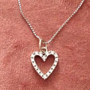 Καρδιά  λευκόχρυση 14k