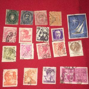18 παλαιά  Ιταλικά συλλεκτικά γραμματόσημα,