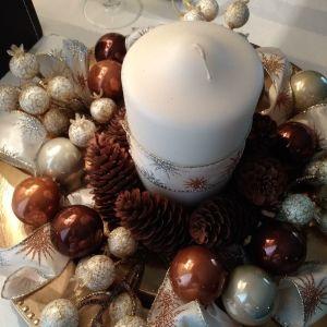 Χριστουγεννιάτικη Σύνθεση Με Κερί