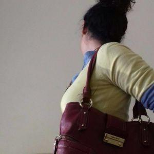 Βυσσινί τσάντα δέρμα 100%