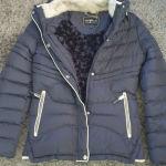 Μπουφαν μπλε σκούρο με γούνινη επένδυση XL