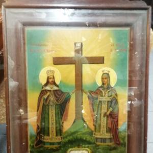 (αγιογραφία αντίκα) 1.200 ευρώ  Άγιος Κωνσταντίνος και Αγία Ελένη - 1889- (42χ31) χωρίς κορνίζα  (61χ40) με κορνίζα - σε άριστη κατάσταση