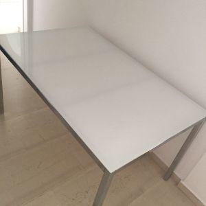 Τραπέζι MEXIL αλουμίνιο - γυαλί γαλακτερό 1,35 x 0,85