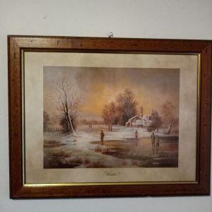Αντίκα πριν το 1970 Γκραβούρα με θέμα το χειμώνα (Winter)  με ξύλινη κορνίζα και τζάμι ...Υψος 36cm Πλάτος 46cm