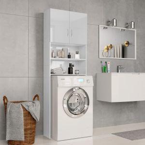 vidaXL Ντουλάπι Πλυντηρίου Γυαλιστερό Λευκό 64x25,5x190 εκ Μοριοσανίδα-800033