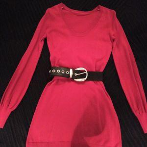 Φόρεμα κόκκινο με ζώνη