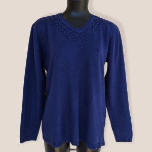 Μάλλινο πουλόβερ μπλε σκούρο προσφορά