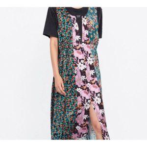 Zara εμπριμέ μιντι φόρεμα