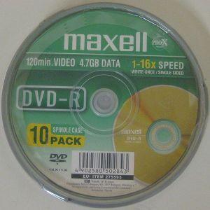 MAXELL DVD-R P10(CAKEBOX)16 X