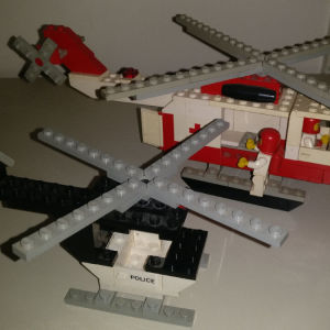 lego 6691 red cross helicopter+police+car