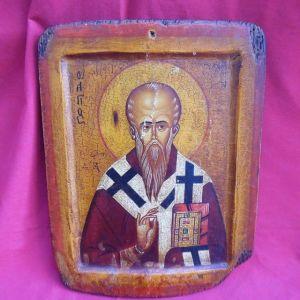 Αγιογραφία σε πεπαλαιωμένο ξύλο .