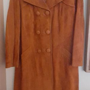 Καστόρινο παλτό, γνήσιο δέρμα .