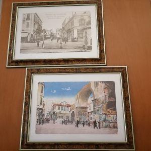 2 πίνακες με κορνίζα και θέμα την παληα θεσσαλονικη