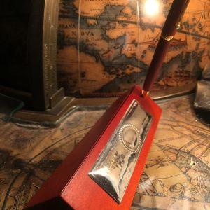 Αντίκα Ιταλίας Στυλό και κασετίνα με ασήμι με σφραγίδα από ξύλο κερασιάς... Αμεταχείριστο στο κουτί του με τις πιστοποιήσεις!