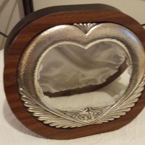 θήκη για στέφανα γάμου από ξύλο και ασήμι