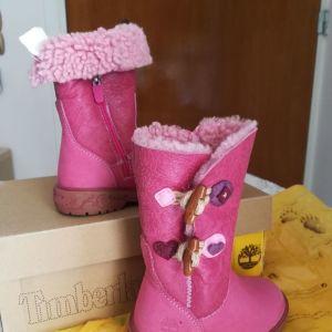 Timberland ροζ δερμάτινες μπότες, με γούνα στο εσωτερικό  για κοριτσάκι.