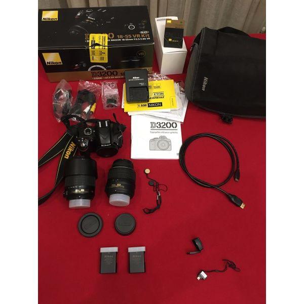 Nikon D3200 Kit 18-55mm & 55-200mm mazi me tilekontrol, tsanta, tripodo ke WIRELESS ADAPTER
