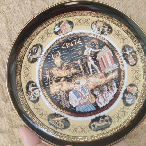 Διακοσμητικό Χειροποίητο Πιάτο Πορσελάνη. Συλλεκτικο με θέμα τη Κρήτη