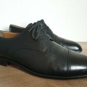 J.R. BARRETT Black Leather Cap Toe Derby Made in Italy Size 46 Ανδρικα Παπουτσια