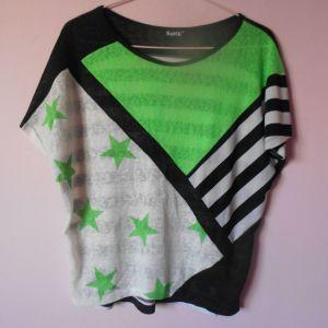 Κοντομάνικη Πράσινη - Μαύρη - Άσπρη μπλούζα με ρίγες και αστέρια Size L