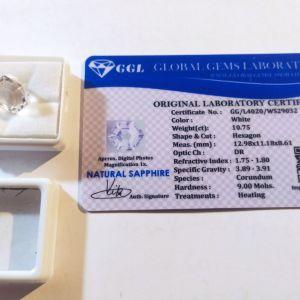 πωλειτε απο συλλεκτη ορυκτων πολυτιμων λιθων μοναδικο λευκο ζαφειρι με εξάγωνη μοναδικη κοπή 10.75 ct με το πιστοποιητικό του
