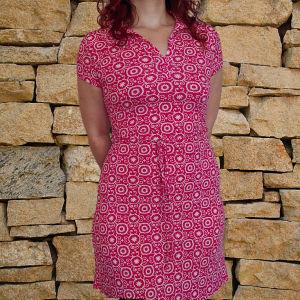 Ροζ φορεματάκι ελαστικό με ζώνη