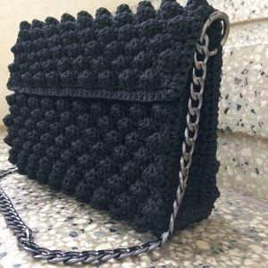 χειροποίητη πλεκτή τσάντα μαύρη