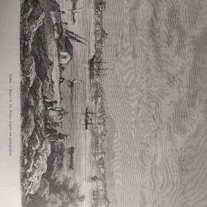 Κέρκυρα ξυλογραφια 1860 θέα από τον βίδο 30x22cm