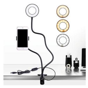 Selfie Ring Light 2 in 1 Βάση Κινητού Εύκαμπτος Βραχίονας Μαύρο