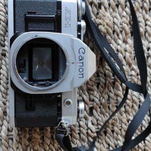 Canon AE-1 + canon lens fd 50mm 1:1.4 + 55mm uv 1x + αξεσουάρ