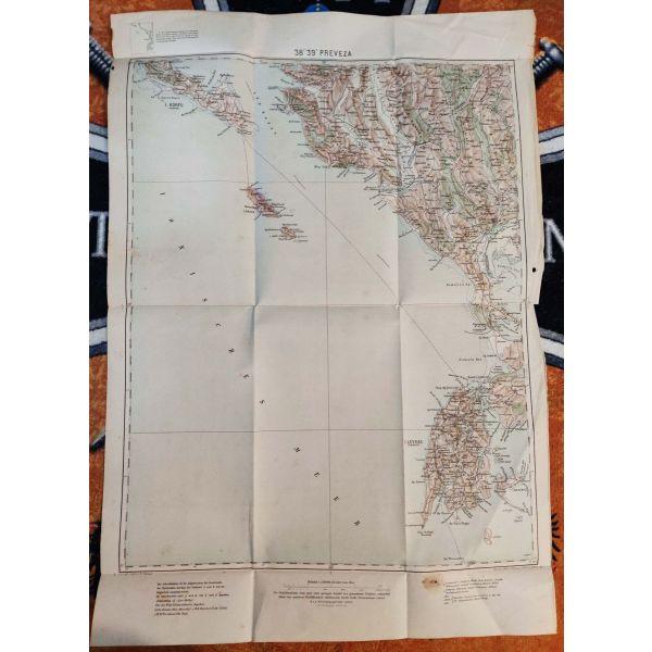 sillektikos chartis preveza tou 1912, italiki ekdosi, ipiros Preveza Old Italian Map Epirus