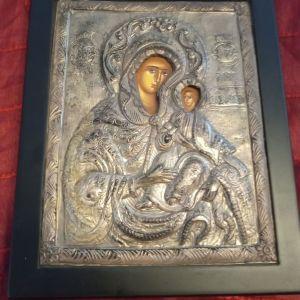 Ιερή εικόνα από καθαρό ασήμι 950 με παραδοσιακή αγιογραφία. Ακριβές αντίγραφο Βυζαντινής τέχνης. Ελεύθερη εξαγωγής. Άριστη κατάσταση. Διαστάσεις 25x20