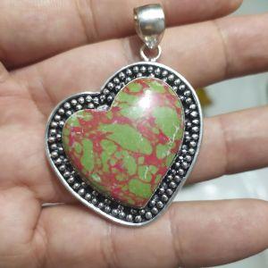 πωλειτε απο συλλεκτη ορυκτων πολυτιμων λιθων,μοναδικο ασημενιο 925 μενταγιον καρδια με μοναδικο copper τυρκουάζ