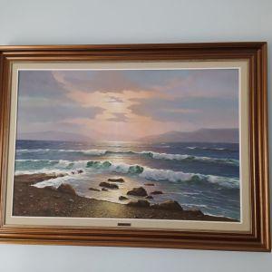 Πίνακας ζωγραφικής (θαλασσογραφία) διάσημου Ν.Μανιατη