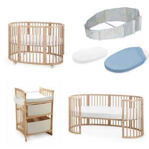 STOKKE sleepi (κούνια +  κρεβάτι + αλαξιέρα + σεντόνια κούνιας + πάντα  + σεντόνια κρεβατιού )