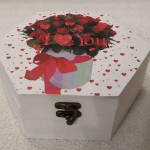 Ξύλινο εξάγωνο κουτί αποθήκευσης I LOVE YOU