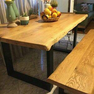 Τραπέζι μοναστηριακού τύπου από μασίφ ξύλο και μέταλλο