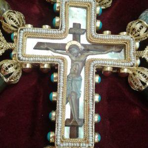 Ασημένιος Επιχρυσος Σταυρός Ευλογιάς Αγιογραφίας με Μαργαριτάρια και ορυκτός πέτρες