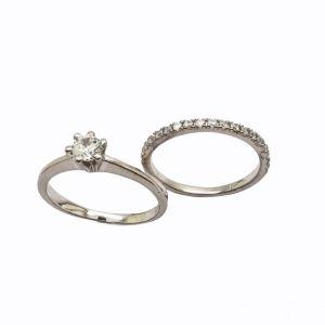 Δαχτυλίδι μονοπετρο ασημενιο σετ με δαχτυλιδι μισοβερο ασημενιο