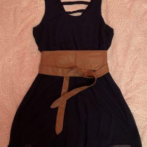 Μπλε φόρεμα με καφέ ζώνη